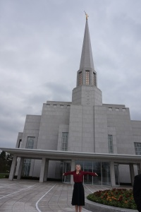 What a joyous day!  Sister Gardner at the Preston Temple.