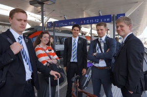 waiting for a train.  L to R- Elder Durrant, Sister Poll, Elder McArthur, Elder Deleeuw and Elders ?.