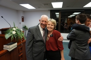 Sister Gardner with President Preston at the England MTC.