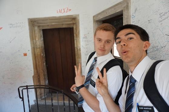 Elder Durrant and Elder McArthur keeping it real in Graz.