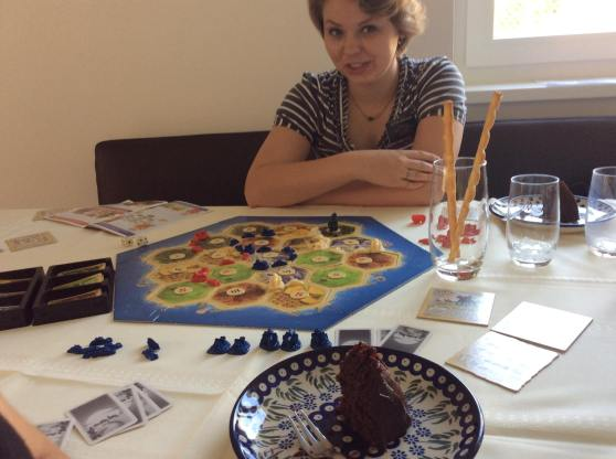 Settlers Game and Vegan Chocolate Cake.
