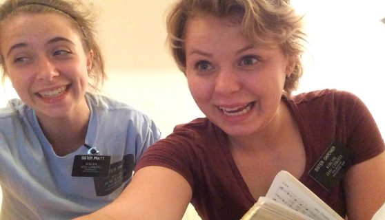 Sister Pratt and Sister Gardner singing hymns after exercising.