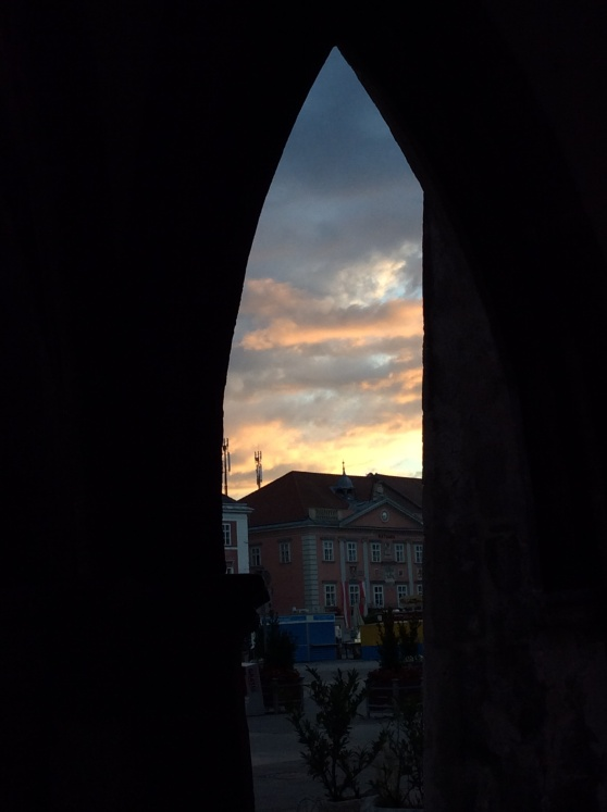 Through our building arch.